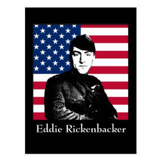Eddie Rickenbacker y la bandera americana Tarjetas Postales