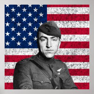 Eddie Rickenbacker y la bandera Póster