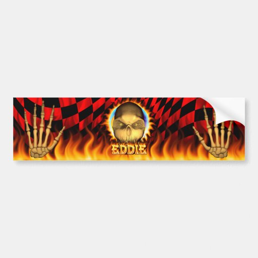 Eddie skull real fire and flames bumper sticker de car bumper sticker