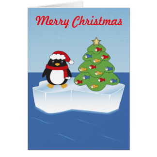 Eddie the Penguin and his Christmas Tree Card