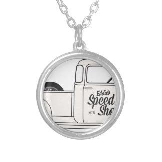 Eddies Speed Shop truck and bike Round Pendant Necklace