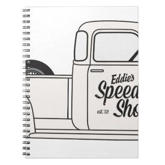 Eddies Speed Shop truck and bike Spiral Notebook