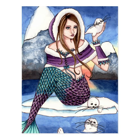 Edeline - Mermaid & Harp Seal Postcard