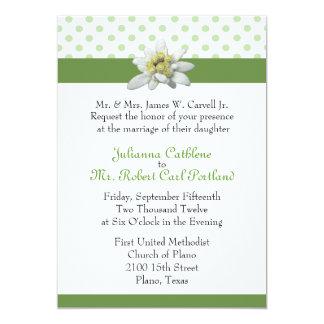 Edelweiss and Green Polka Dot Wedding Invitation