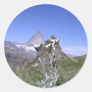 Edelweiss and Matterhorn Classic Round Sticker