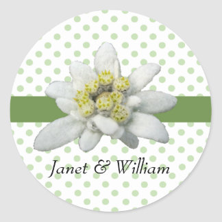 Edelweiss and Polka Dots Wedding Envelope Seal Classic Round Sticker