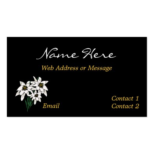 Edelweiss flower business calling cards double sided for Business calling cards