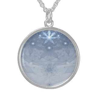 Edelweiss Flowers Fractal Art Round Pendant Necklace
