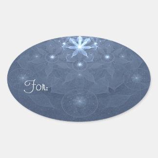 Edelweiss Flowers Fractal Art Oval Sticker