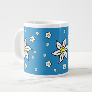 Edelweiss on Blue Large Coffee Mug