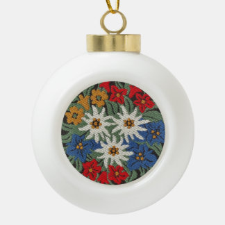 Edelweiss Swiss Alpine Flower Ceramic Ball Christmas Ornament