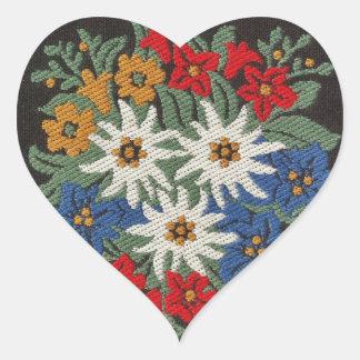 Edelweiss Swiss Alpine Flower Heart Sticker