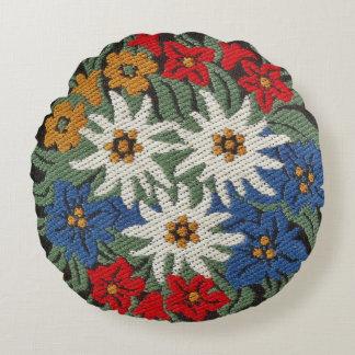 Edelweiss Swiss Alpine Flower Round Pillow