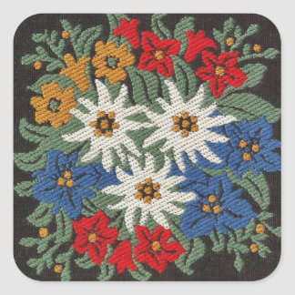 Edelweiss Swiss Alpine Flower Square Sticker
