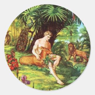 Eden Adán en el jardín Pegatina Redonda