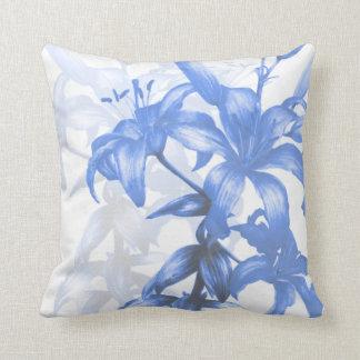 """""""Eden blue lilies"""" fine art square pillow"""