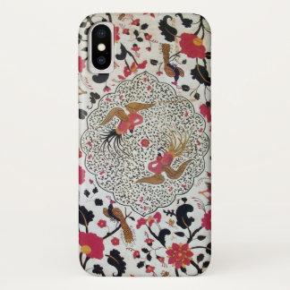 EDEN / ELEGANT RED BLACK WHITE FLOWERS AND BIRDS iPhone X CASE