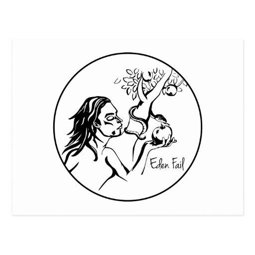 Eden Fail - Eve Eats The Apple In The Garden Post Card