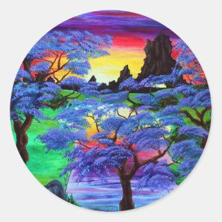 Eden violeta pegatina redonda