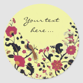 EDEN/ WEDDING LOVE BIRDS ,PEACOCK AND RED ROSES CLASSIC ROUND STICKER