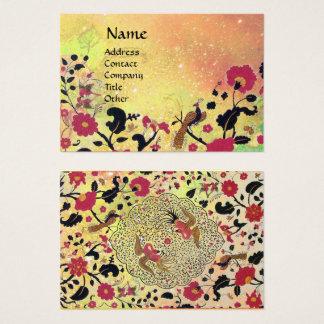 EDEN / WHIMSICAL GARDEN Gold Yellow Floral Sparkes Business Card
