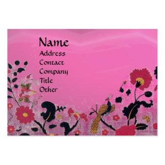 EDEN / WHIMSICAL GARDEN ,pink amethyst black red Business Card Templates