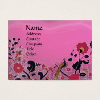 EDEN / WHIMSICAL GARDEN ,pink amethyst black red Business Card