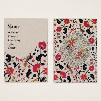 EDEN,WHIMSICAL GARDEN Red Black Floral Kraft Paper Business Card