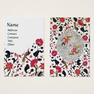 EDEN,WHIMSICAL GARDEN Red Black White Floral Pearl Business Card