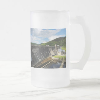 Edersee concrete dam with closed forest-hits a frosted glass beer mug