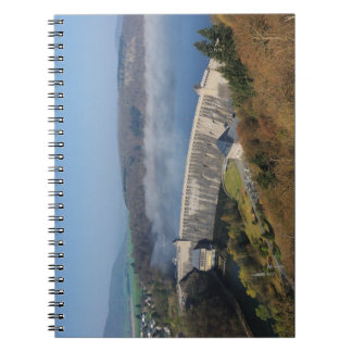 Edersee concrete dam with fog notebook