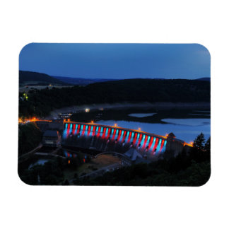 Edersee lit up concrete dam in the evening magnet
