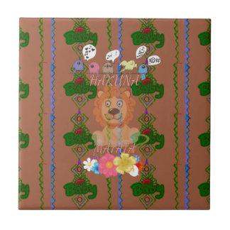 Edg divertido lindo de rey Hakuna Matata del león Azulejo Cuadrado Pequeño