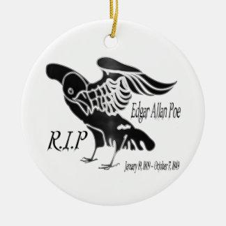 Edgar Alan Poe el cuervo Adorno Navideño Redondo De Cerámica