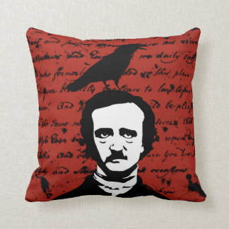 Edgar Allan Poe and Black Raven on Red Throw Pillow