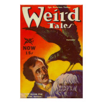 Edgar Allan Poe and Raven Pulp Magazine Cover
