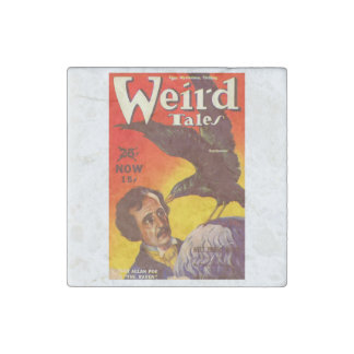 Edgar Allan Poe and Raven Pulp Magazine Cover Stone Magnet