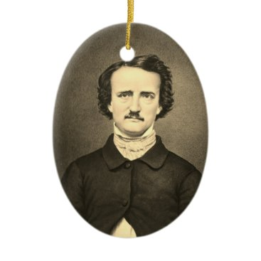 Halloween Themed Edgar Allan Poe - Brady portrait Ceramic Ornament