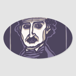 Edgar Allan Poe by FacePrints Oval Sticker