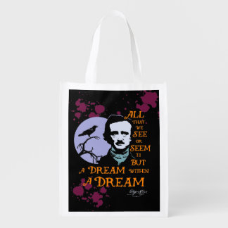 Edgar Allan Poe Dream Within A Dream Quote Reusable Grocery Bags