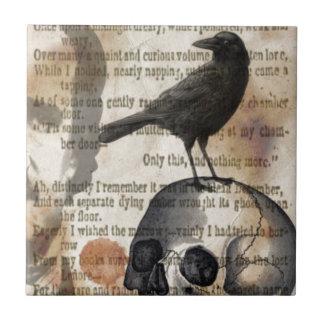 Edgar Allan Poe el cráneo y el pájaro del cuervo Azulejo Cerámica