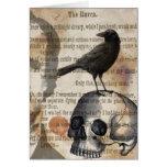 Edgar Allan Poe el cráneo y el pájaro del cuervo Tarjeta De Felicitación
