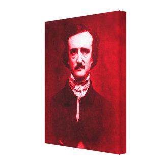 Edgar Allan Poe en rojo Lienzo Envuelto Para Galerías