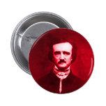 Edgar Allan Poe en rojo Pin Redondo De 2 Pulgadas
