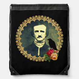Edgar Allan Poe Framed with Roses Drawstring Backpack