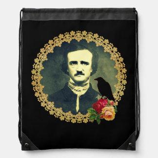 Edgar Allan Poe Framed with Roses Drawstring Backpack