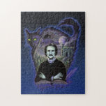 "Edgar Allan Poe Gothic Jigsaw Puzzle<br><div class=""desc"">As if a dream within a dream, this offering conjures fancies of Poe&#39;s greatest subjects including The Raven, The Black cat, The House of Usher. Creating the gothic atmosphere one would expect for the master of macabre poetry &amp; verse. Show your expressive dark side with this moody blue Edgar Allan...</div>"