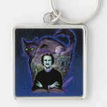 Edgar Allan Poe Gothic Silver-Colored Square Keychain