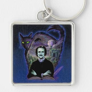 Edgar Allan Poe Gothic Silver-Colored Square Keychain