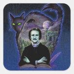 Edgar Allan Poe gótico Calcomania Cuadradas